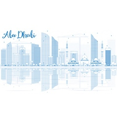 Outline abu dhabi city skyline with blue buildings vector