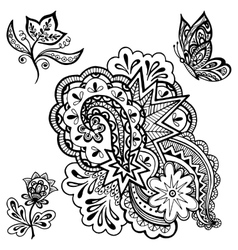 Patterns Flowers and Butterfly Contours vector image