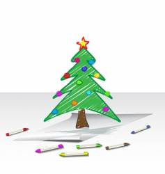 Christmas tree drawing vector image