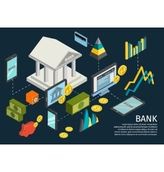 Atm hands isometric poster vector