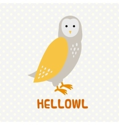 Greeting card with cute cartoon owl vector