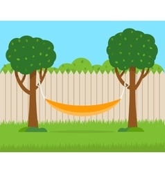 Hammock with trees on house backyard vector