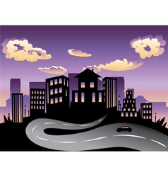 Sunset city and road silhouette4 vector