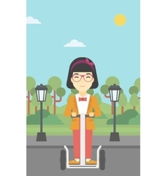 Woman driving electric scooter vector