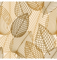 Autumn brown and yellow leaves seamless pattern vector