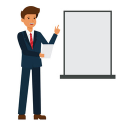 businessman is making presentation cartoon flat vector image vector image