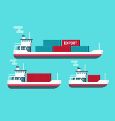 cargo ships isolated flat vector image vector image