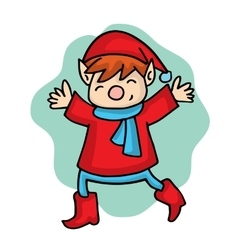 Cartoon elf with red costume vector