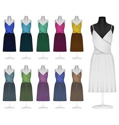 Classic female plain dress template vector image