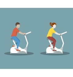 Couple on exercise bike vector