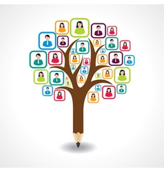 Creative social people tree design concept vector
