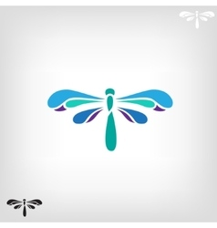Dragonfly silhouette on light background vector