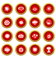 Explosion icon red circle set vector