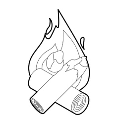 Fire icon outline style vector
