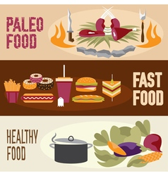 Flat design banners with paleo food fast food and vector
