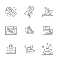 Greetings for Valentines Day line icons vector image vector image