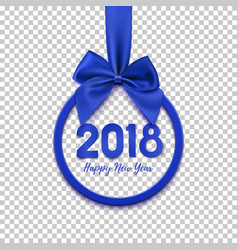 happy new year 2018 round banner with blue ribbon vector image vector image