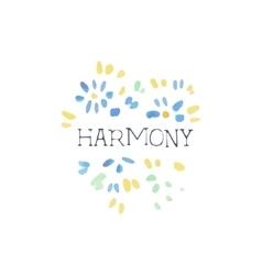Harmony natural beauty cosmetics promo sign vector