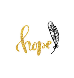hope gold calligraphy poster design vector image vector image