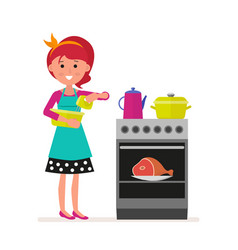 Housewife or maid with a mixer in her hands vector