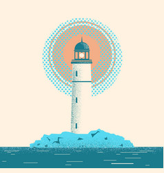 lighthouse seascape horizon vector image vector image