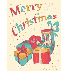 Marry Christmas Card with hand drawn gift boxes vector image