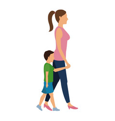 Mother and her son walking together vector