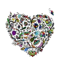 Ornate floral heart for your design vector image vector image