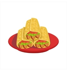 Pile of burritos traditional mexican cuisine dish vector
