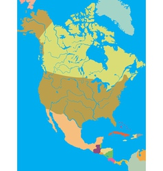 Political map of north america vector