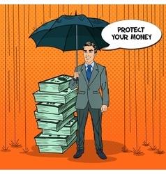 Pop art happy businessman protecting money vector