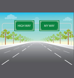 road sign with my way and high way words on vector image vector image