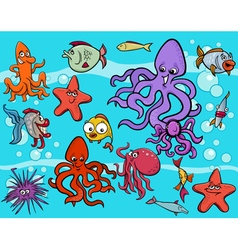 sea life group cartoon vector image vector image