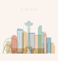 Seattle state washington skyline silhouette vector