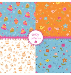 Set of doodle baby patterns vector image vector image