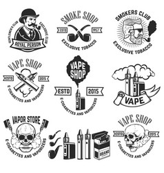 set of vape shop emblem templates smoke shop vector image