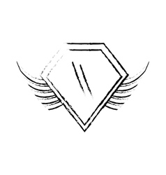 shield insignia military winged sketch vector image