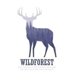Silhouette of a deer with pine forest blue and vector image