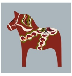Swedish wooden horse painted in traditional color vector