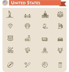 United States travel icon set vector image