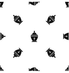 Urn pattern seamless black vector