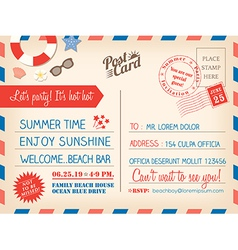 Vintage summer holiday postcard background vector image