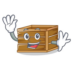 waving crate character cartoon style vector image vector image