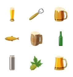 Alcoholic beer festival icons set cartoon style vector
