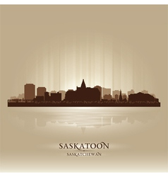 Saskatoon saskatchewan skyline city silhouette vector