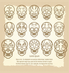 Vintage mexican skull set poster vector