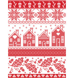 Christmas festive pattern in cross stitch vector