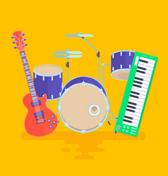 musical instruments set guitar drums rock band vector image