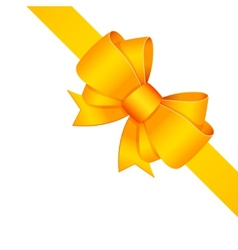 Yellow decorative bow with ribbon isolated vector image