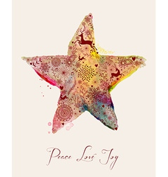 Christmas star watercolor greeting card vector